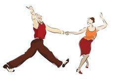 Swing dancing couple. Lindy Hop dancers swinging stock photo