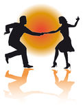 Swing Dancing Couple/ Vector. Silhouette illustration of a couple swing dancing...editable in eps vector version Stock Photos