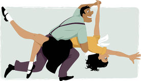 Swing dancing. Young couple dressed in 1950s fashion dancing swing or rock and roll, vector illustration, no transparencies, EPS 8 Stock Images