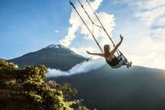The Swing At The End Of The World In Banos De Aqua Santa, Ecuador Stock Images