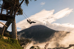 The Swing At The End Of The World Located At Casa Del Arbol. The Tree House In Banos, Ecuador, Has Solved The Problem By Hanging At The Height Of Long Swing A Stock Images