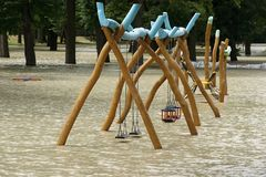 Swing - Extraordinary flood, on Danube river in Bratislava Royalty Free Stock Image