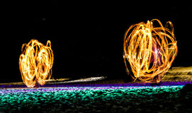 Swing fire show Stock Photography