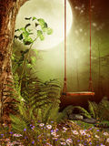 Swing in a forest stock illustration