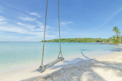 Swing hang from coconut palm tree over beach sea in Phuket ,Thailand. Royalty Free Stock Image