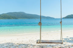 Swing hang from coconut palm tree over beach sea in Phuket ,Thailand. Stock Photos