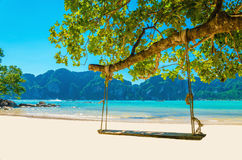 Swing hang from coconut tree over beach, Thailand Stock Photos