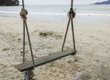 Swing hang from tree on the beach. Stock Image