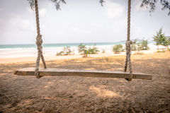 Swing hang from tree over beach Royalty Free Stock Photo