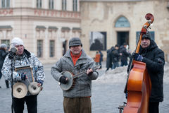 Swing jazz band play songs on Old Town Square, Prague, Czech Republic Royalty Free Stock Photos