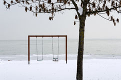 Swing and landscape of Lake Balaton in winter time Stock Images