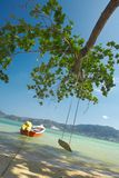 Swing the ocean!. View of nice funny ocean swing under the big tree on shore Royalty Free Stock Image