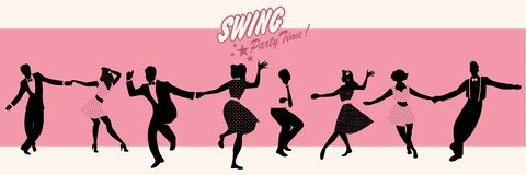 Swing Party Time: Silhouettes of four young couple wearing retro clothes dancing swing or lindy hop.  Stock Photos