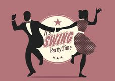 Swing Party Time: Silhouettes of young couple wearing retro clothes dancing swing or lindy hop.  stock illustration