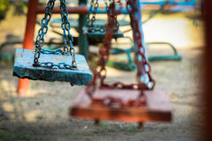 Swing in playground. Nobody sit on swing in playground Royalty Free Stock Photos