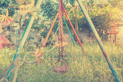 Swing playground Vintage The condition of the old province in Thailand. Royalty Free Stock Photography