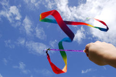 Swing the rainbow ribbon Royalty Free Stock Photos