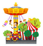 Swing ride at the theme park. Illustration stock illustration