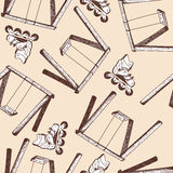 Swing and rollers seamless doodle pattern Royalty Free Stock Photography