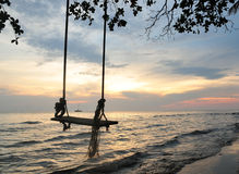 Swing and sea sky. In sunset most beautieful colorful thailand Stock Image