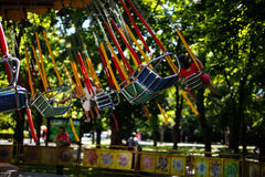 Swing seat carousel at amusement ride Royalty Free Stock Photography