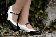 Swing shoes. Black and white Swing shoes Royalty Free Stock Photos