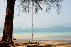 Swing on the shore of a tropical beach Royalty Free Stock Photo
