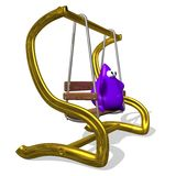 Swing. A small , funny ,cartoon character, purple people swinging on the swings and resting and watching his eyes bulging Stock Images