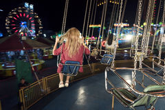 Swing Spinning Amusement Carnival Enjoyment Concept Royalty Free Stock Photography
