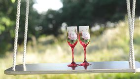 Swing in summer Park on a tree with glass of wine. Swing in summer Park on tree with glass of wine stock video