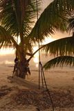 Swing at sunrise on coast of Belize Royalty Free Stock Images