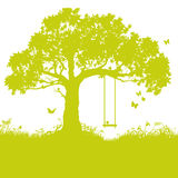 Swing in tree and childhood Royalty Free Stock Images