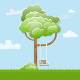 Swing On Tree in park. Stock Photo