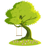 Swing on a tree. Vector illustration Royalty Free Stock Images