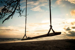 Swing on tropical beach Royalty Free Stock Photography