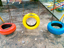Swing turnovers of Tyre Recycling. royalty free stock photography