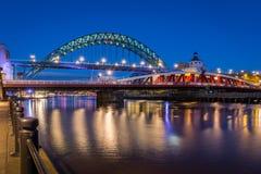 Swing and Tyne Bridges at night Stock Photography