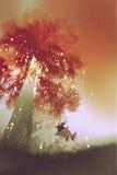 Swing under the fantasy autumn tree Stock Photography