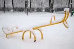 Swing under the snow Stock Image