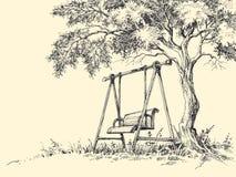Swing under the tree. Illustration. Playground drawing stock illustration