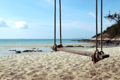 Swing. Wood swing at Sai Kaew Beach Royalty Free Stock Photo
