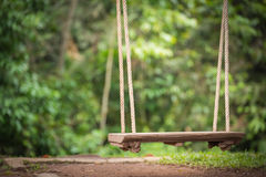 Swing wooden seat hanging by rope with green background Stock Images