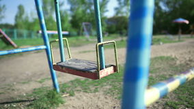 Swing in the yard swings. Old swing in the yard swings stock video footage