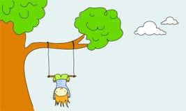 Swinging. Cute cartoon kid swinging upside down Stock Images