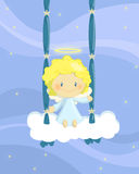 Swinging angel boy. Illustration about a cute little angel boy seated on a cloud swing Royalty Free Stock Photo