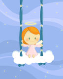 Swinging angel girl. Illustration about a cute little angel girl seated on a cloud swing Stock Images