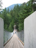 Swinging Bridge. Person at the far end of a swinging bridge. View is from one end of the brdige looking down the center toward the other end, with forestry and a Royalty Free Stock Photography