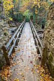 Swinging Bridge in Autumn. The colors of autumn surround a footbridge across Glade Creek in Babcock State Park, West Virginia royalty free stock photos
