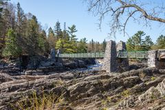 Swinging Bridge at Jay Cooke State Park Stock Photos