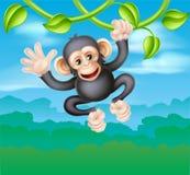 Swinging Cartoon Chimp Vector Illustration